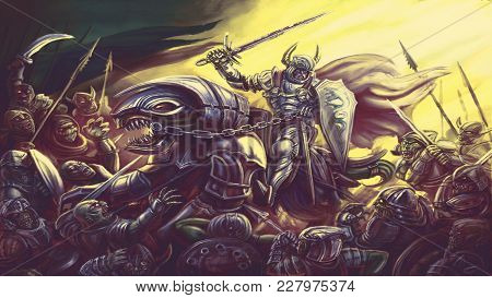 Knight Is Riding A Sword On A Dragon. Colourful Picture In The Genre Of Fantasy.