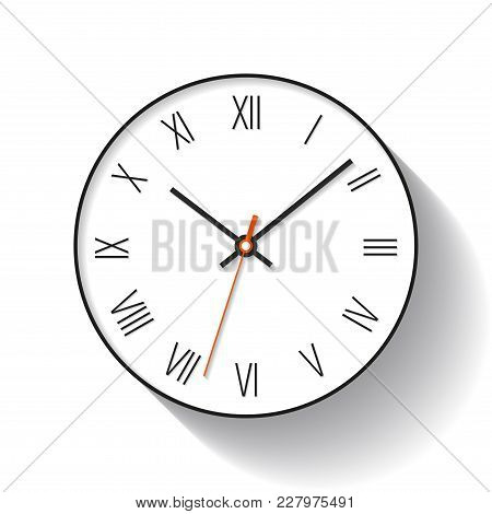 Simple Clock Icon In Flat Style With Roman Numerals. Minimalistic Timer On White Background. Busines