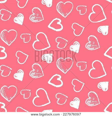Tender Seamless Pattern With Cute Grunge White Scribbled Hearts On Pink Background. Lovely Doodle Te