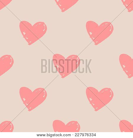 Tile Vector Pattern With Pink Hearts On Pastel Background