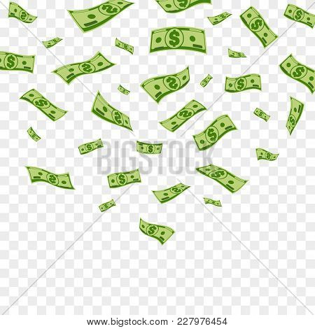 Falling Dollar Banknotes. Vector Money Confetti Isolated On Checkered Background.