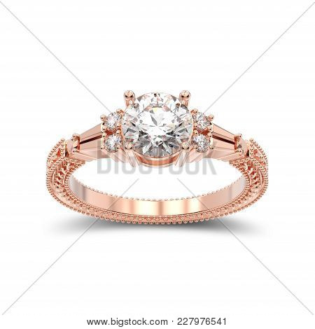 3d Illustration Isolated Rose Gold Decorative Diamond Ring With Ornament With Shadow On A White Back