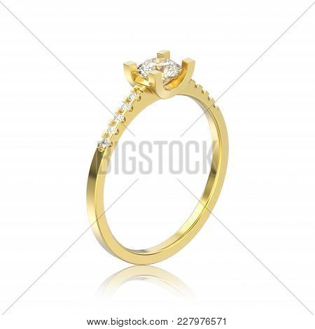 3d Illustration Isolated Yellow Gold Engagement Round Cut Shape Ring With Diamond With Reflection On