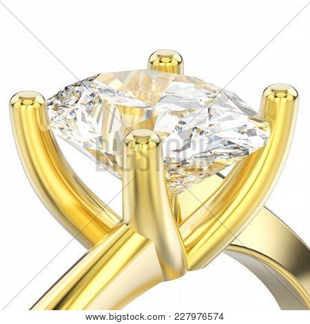 3d Illustration Isolated Close Up Yellow Gold Engagement Illusion Twisted Ring With Diamond On A Whi