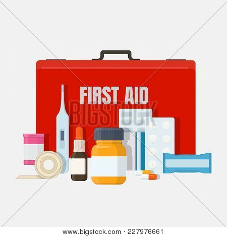 First Aid And Medical Equipment. Red First Aid Kit Box With Medical Tools, Drugs, Plaster. Flat Vect