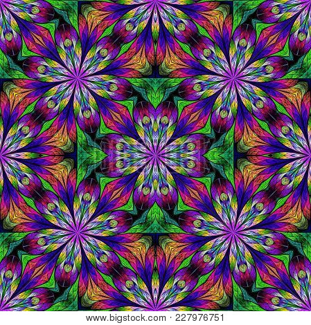 Multicolored Floral Pattern In Stained-glass Window Style. You Can Use It For Invitations, Notebook
