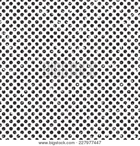 Polka Dot Grunge Halftone Seamless Vector Pattern. Distressed Shading Texture For Your Artwork.