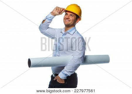 Portrait Of Positive Worker Male In Yellow Safe Helmet Isolated On A White Background.