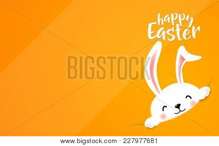Easter Bunny Hide At The Corner. Cute Funny Rabbit In The Hole Wish Happy Easter Holiday. A Lot Of E