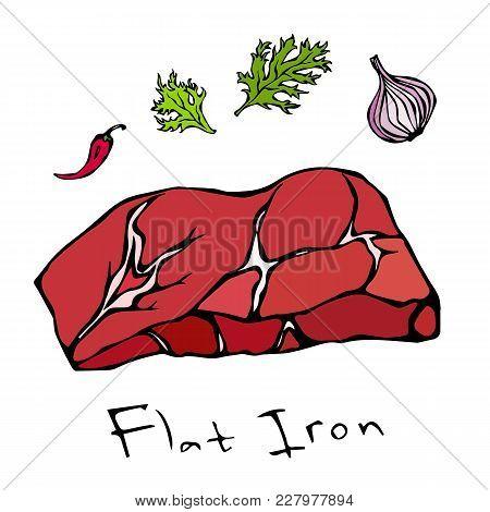 Most Popular Steak Flat Iron Beef Cut. Meat Guide For Butcher Shop Or Steak House Restaurant Menu. H