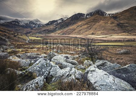 Ogwen Valley At Winter With Hills Covered In Snow. Snowdonia National Park In North Wales, Uk