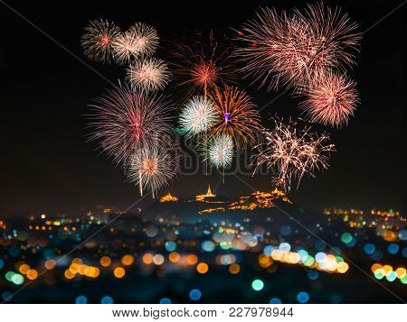 Annual Festival In Phetchaburi, Thailand. There Is A Beautiful Fireworks Above The Palace On The Top