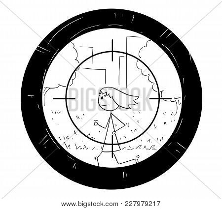 Cartoon Stick Woman Drawing Conceptual Illustration Of Jogging Or Running Man Being Targeted By Scop