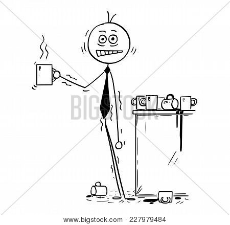 Cartoon Stick Man Drawing Conceptual Illustration Of Overworked Businessman Under Pressure Overdosed