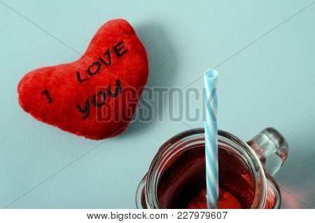 Red Grenadine Mug Glass With Straw, Heart With I Love You