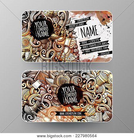 Cartoon Graphics Watercolor Vector Hand Drawn Doodles Cafe Corporate Identity. 2 Id Cards Design. Te