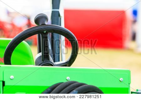 Agriculture Equipment, Agribusiness Machinery And Vehicles Concept. Operating System On Big Industri