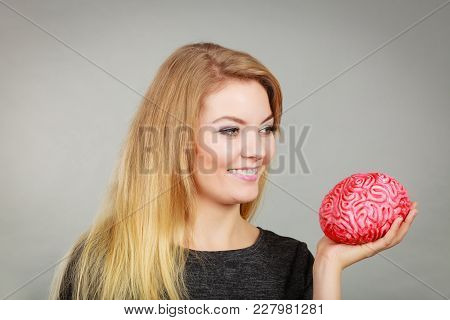Intellectual Expressions, Being Focused Concept. Closeup Of Attractive Woman Thinking Face Expressio