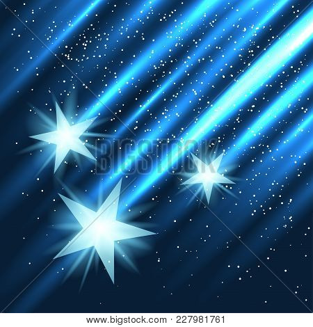 Star Fall On Blue Light Rays Background. Three Abstract Stars With Glow Lights Beam Falling In Dark.
