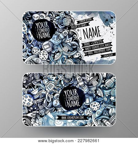 Cartoon Graphics Watercolor Vector Hand Drawn Doodles Space Corporate Identity. 2 Id Cards Design. T