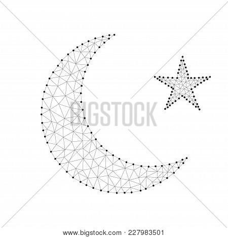Polygonal Design Gold Half Moon And Star With Line And Point, Isolated On Blue Sky Background. Low P