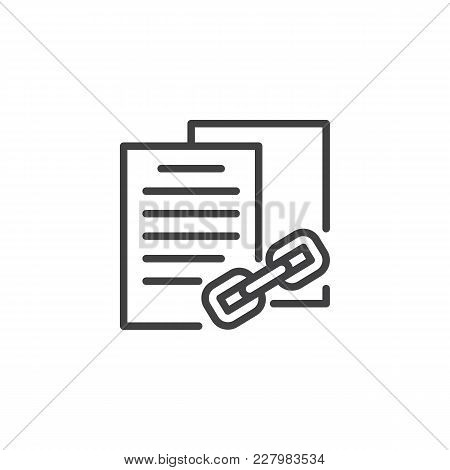 Linked Files Outline Icon. Linear Style Sign For Mobile Concept And Web Design. Data File Secret Sec