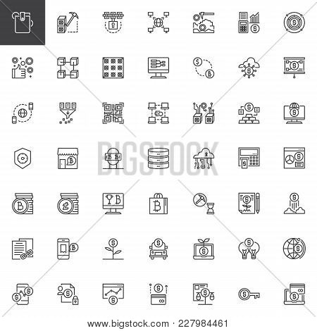 Cryptocurrency And Fintech Outline Icons Set. Linear Style Symbols Collection, Line Signs Pack. Vect