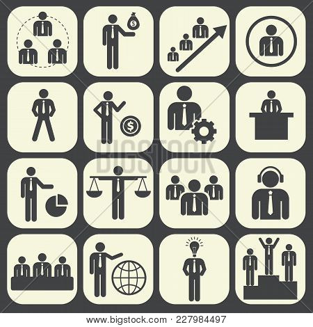 Human Resources And Management Icon Set. Vector Illustration.