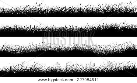 Set Of Horizontal Banners Of Grassland Meadow Silhouettes With Grass.