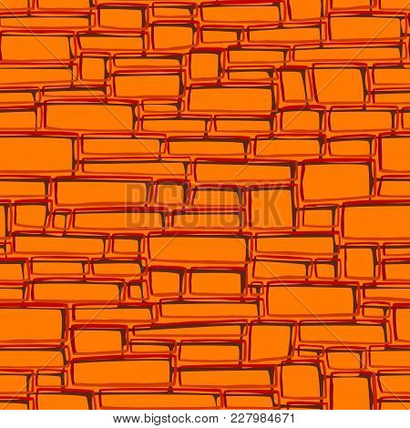 Seamless Vector Abstract Background Of Orange Rectangular Different Sized Bricks.