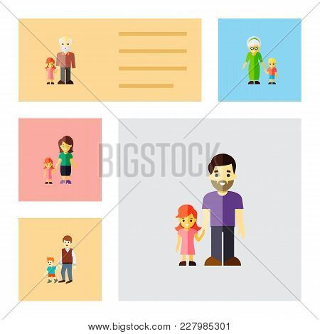 Icon Flat People Set Of Daugther, Grandchild, Brothers Vector Objects. Also Includes Family, Father,