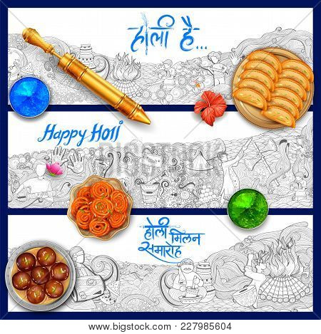 Illustration Of Colorful Doodle Background For Festival Of Colors Celebration Greetings With Message