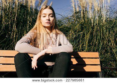 Confident Attractive Blonde Girl Sitting On A Bench Outdoors, In A Park, Enjoying The Sun And Warmth