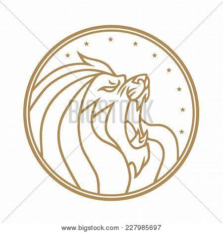 Lion Roaring Circle Gold Logo White Background Vector Illustration Design
