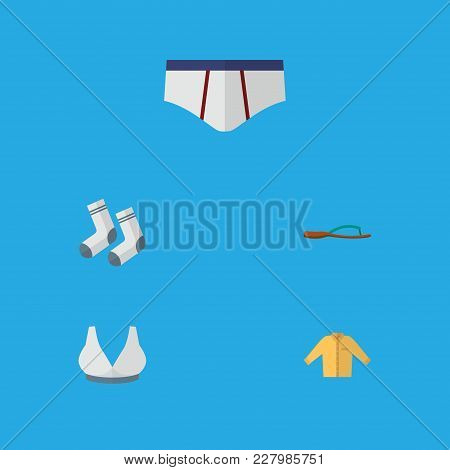Icon Flat Garment Set Of Shirt, Sport Bra, Underwear And Other Vector Objects. Also Includes Bra, Sh