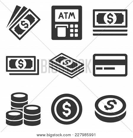 Cash Money Icons Set. Dollars And Coins. Vector Illustration