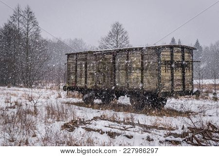 Old Goods Wagon At Former Railroad Station Bialowieza Towarowa In Bialowieza, Large Village In Podla
