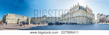 Stuttgart , Germany - February 19 2018 :the New Castle Is Welcoming Guests To Throve Tuesday