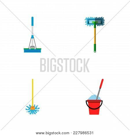 Icon Flat Broomstick Set Of Cleaning, Broomstick, Besom And Other Vector Objects. Also Includes Mop,