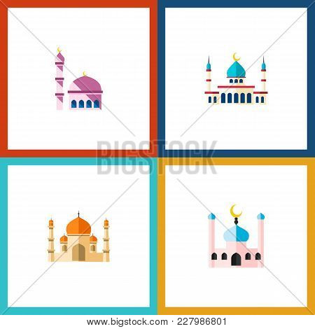 Icon Flat Mosque Set Of Structure, Mosque, Traditional And Other Vector Objects. Also Includes Build