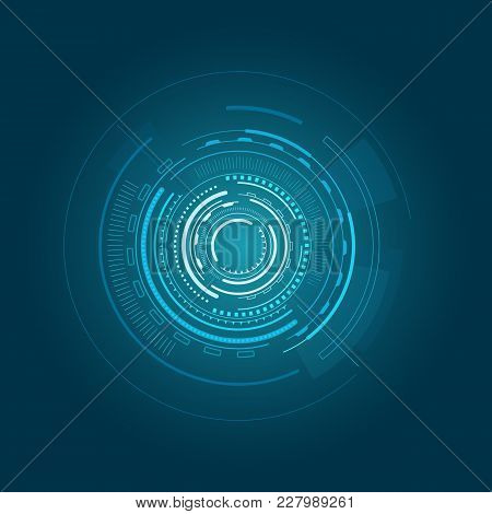 Interface Poster Of Blue Color With Circular Geometric Shape And Futuristic And Sci-fi Looking Objec