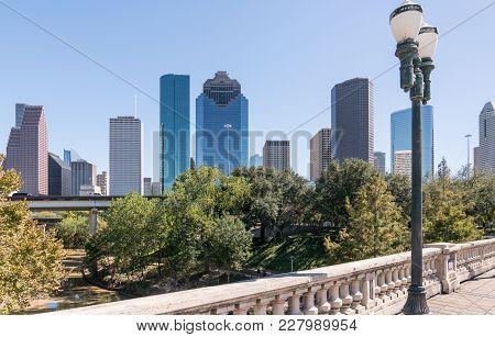 Houston, Texas Skyline From The Sabine Street Bridge