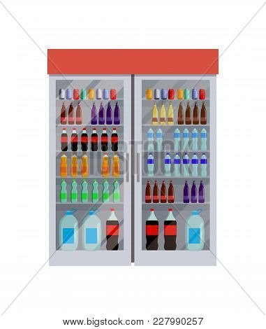 Fridge Full Of Bottles Of Water, Different King Of Beverage, Coca-cola And Fanta, Liquid In Containe
