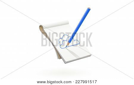 Blue Pencil Draw Cloud At Art Album. Art Tool For Drawing Sketch And Picture. Isolated White Backgro