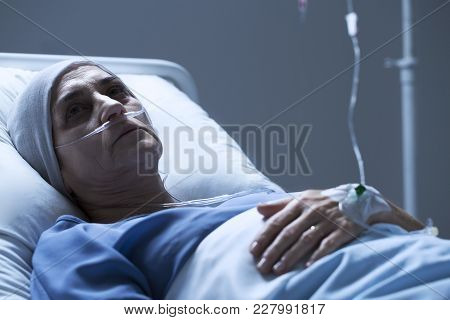 Sick Senior Woman With Cancer