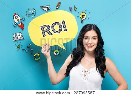 Roi With Young Woman Holding A Speech Bubble