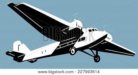 Retro Aircscrew Plane, Old Airscrew Plane Flat