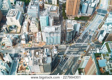 Aerial View Of The Tokyo Skyline In The Morning