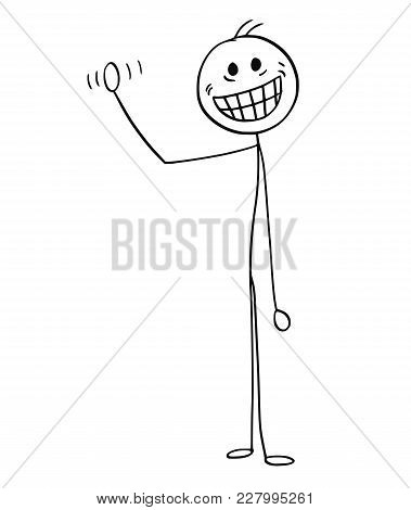 Cartoon Stick Man Drawing Illustration Of Man With Crazy Smile Waving His Hand.