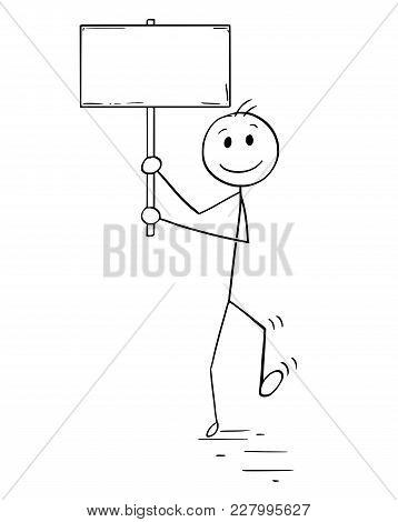 Cartoon Stick Man Drawing Conceptual Illustration Of Protester Or Demonstrator Or Businessman Walkin